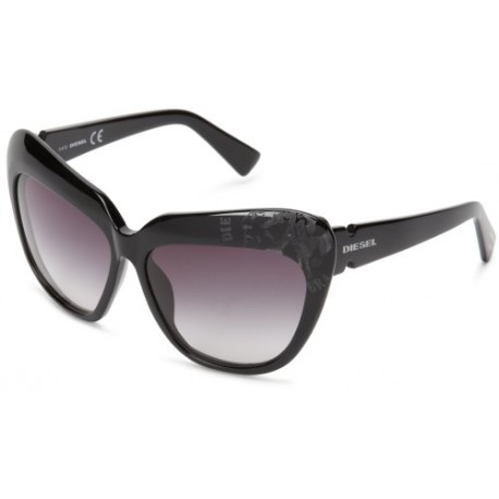 Diesel - Lunette de soleil DL0047 Œil de chat - Shiny Black Frame / Gradient Grey