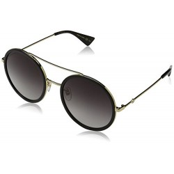 Gucci - GG0061S, Rondes, métal, femme, BLACK GOLD/GREY SHADED(001 H), 56/22/140