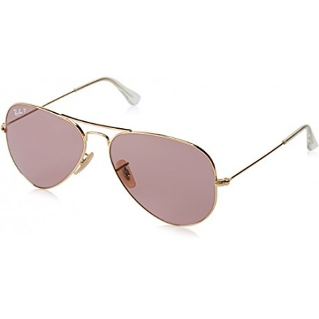 Ray-Ban - Lunette de soleil RB3025 Aviator Polarisée 55mm, Or Rose Legende
